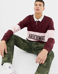 Abercrombie And Fitch Logo Chest Panel Long Sleeve Rugby Polo In Burgundy Red Graphic