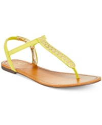 Material Girl Sage T Strap Flat Thong Sandals Only At Macy's Women's Shoes Citron