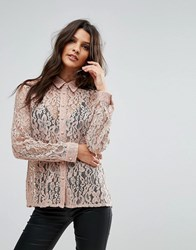 Goldie Hooked On You Rose Floral Lace Blouse Pink