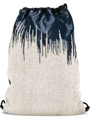 Paco Rabanne Mesh Drawstring Backpack Blue