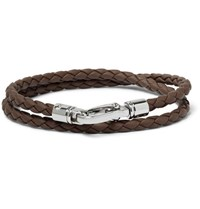 Tod's Woven Leather Bracelet Brown