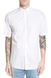 Men's Zanerobe 'Rugger' Oversize Longline Short Sleeve Woven Shirt White