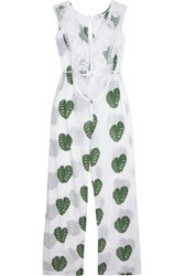 Miguelina Sabrina Crochet Paneled Printed Cotton Voile Jumpsuit White
