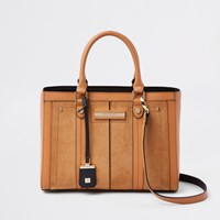 River Island Beige Faux Leather Boxy Tote Bag