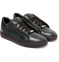 Brioni James Suede And Leather Sneakers Dark Green