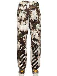 Off White Camouflage Printed Cotton Jogging Pants