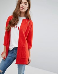 Selected Boxy Knit Cardigan Flame Scarlet Red