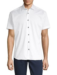 Bertigo Short Sleeve Cotton Button Down Shirt White