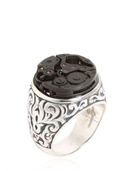 Cantini Mc Firenze Engraved Sterling Silver Steampunk Ring