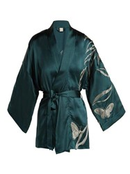 Morpho Luna Bella Foliage Embroidered Satin Kimono Robe Dark Green