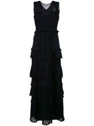 Alberta Ferretti Tiered V Neck Knitted Gown Blue