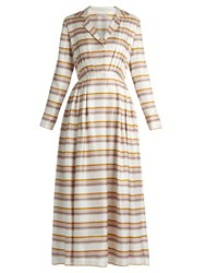 Emilia Wickstead Salome Striped Pleated Silk Dress Brown Multi