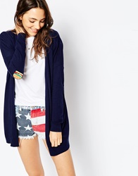 Asos Swing Cardigan With Burger And Fries Elbow Patch Navy