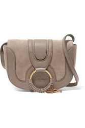 See By Chloe Hana Small Textured Leather And Suede Shoulder Bag Light Gray