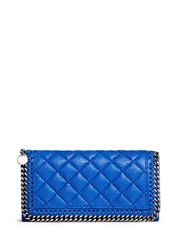 Stella Mccartney 'Falabella' Quilted Faux Shaggy Deer Continental Wallet Blue