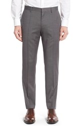 Boss Men's 'Genesis' Flat Front Solid Wool Trousers Medium Grey
