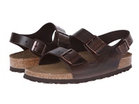 Birkenstock Milano Leather Soft Footbed Unisex Brown Amalfi Leather Sandals Gray