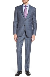 David Donahue Big And Tall Ryan Classic Fit Plaid Wool Suit Grey