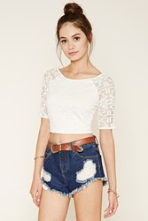 Forever 21 Embroidered Mesh Top