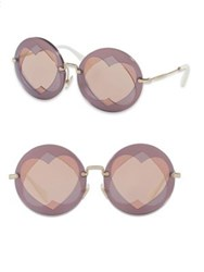 Miu Miu 62Mm Mirrored Round Heart Sunglasses Lilac Mix