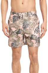 Original Penguin Men's Tropical Leaf Volley Swim Trunks Coral Almond