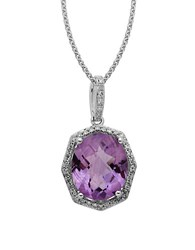Lord And Taylor Sterling Silver Light Amethyst Diamond Pendant Necklace