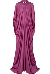 Reem Acra Draped Silk Jersey Gown Plum