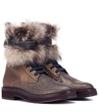 Brunello Cucinelli Fur Trimmed Ankle Boots Brown