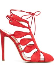 Chloe Gosselin 'Calico' Strappy Tie Up Sandals Red