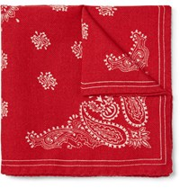 Alex Mill Paisley Print Wool Twill Pocket Square Red