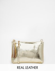 Urbancode Gold Leather Clutch Bag With Optional Shoulder Strap