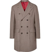 Brunello Cucinelli Double Breasted Houndstooth Wool And Cashmere Blend Coat Brown