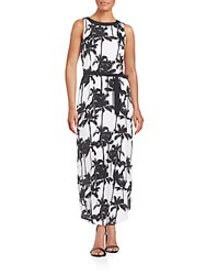 Kensie Palm Print Maxi Dress Black White