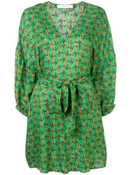 Roseanna Belted Floral Mini Dress Green