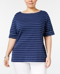Karen Scott Plus Size Striped Boat Neck Top Only At Macy's Intrepid Blue