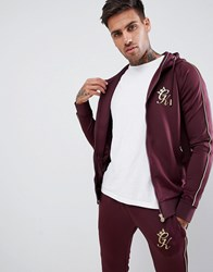 Gym King Muscle Hoodie In Burgundy With Gold Piping Red