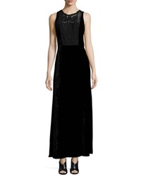 Elie Tahari Kim Sleeveless Lace Yoke Velvet Maxi Dress Black