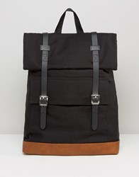 Asos Backpack In Canvas With Long Buckle Straps Black