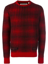 Off White Striped Sweater Red