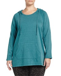 Marc New York By Andrew Marc Super Wash Long Sleeve Hooded Tunic Teal Blue