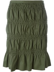 Romeo Gigli Vintage Smocked Skirt Green