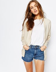Asos Fine Cardigan In Linen Mix Yarn Oatmeal Stone