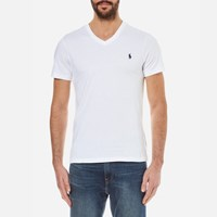 Polo Ralph Lauren Men's Short Sleeve Custom Fit V Neck T Shirt White
