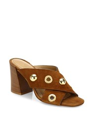 Michael Kors Brianna Studded Suede Crisscross Mules Luggage
