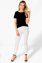 Boohoo Zip Detail Jegging Cream