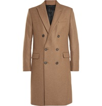 Ami Alexandre Mattiussi Double Breasted Wool Blend Overcoat Brown