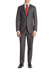 Isaia Plaid Suit Dark Grey