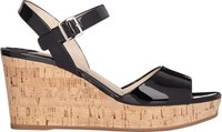 Prada Patent Ankle Strap Wedge Sandals Black
