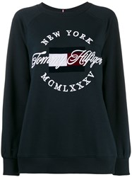 Tommy Hilfiger Embroidered Logo Sweater Blue