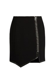 Thierry Mugler Leather Trimmed Wool Mini Skirt Black